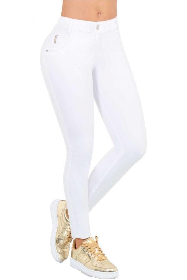 Jean básico blanco tiro medio bota skinny