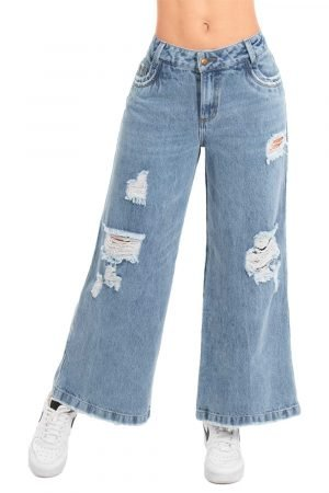 JEANS PALAZZO CON DESTROYED BE