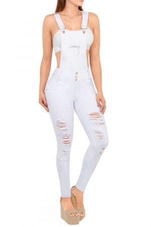 Overol de jean de moda Colombia con destroyed, color blanco