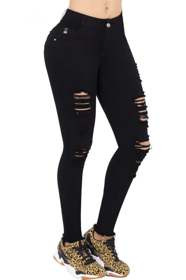 Jeans negro con destroyed levanta cola B 1025