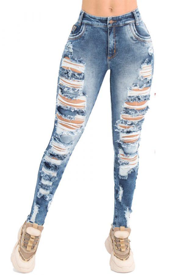 Jeans levanta cola tiro alto con destroyed