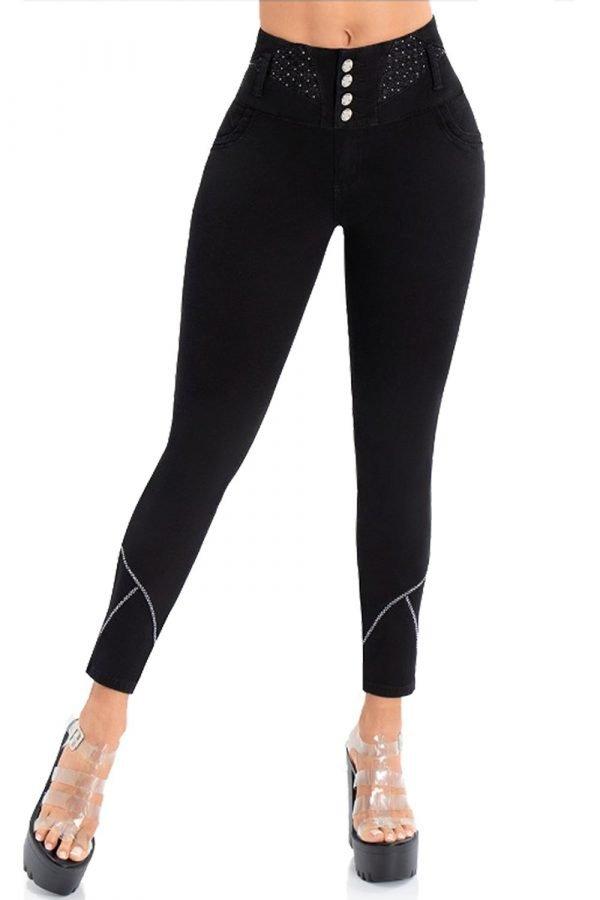 Jean negro levanta cola pretina super alta cinco botones bota skinny con decoración S 2056
