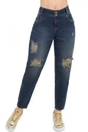 Jeans levanta cola clásico con destroyed