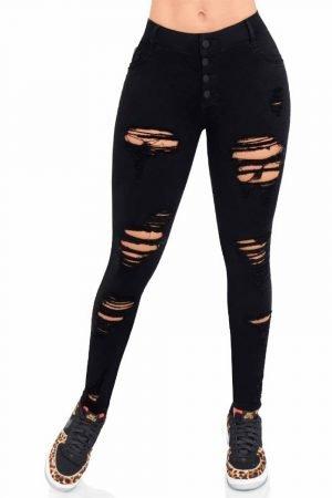 Jeans negro con destroyed tiro alto B 1016