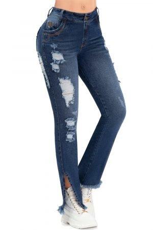 Jeans destroyed levanta cola con abertura en bota B 1082-1