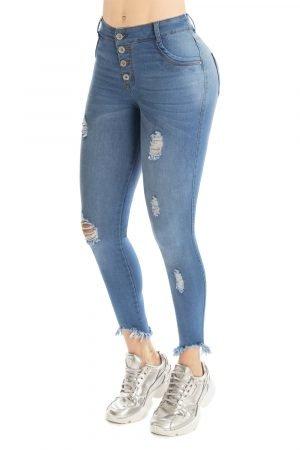 Jeans pretina alta con bota destroyed skinny B-1092-1