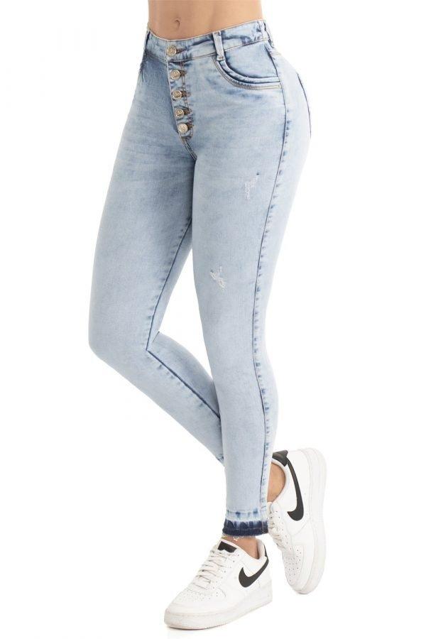 Jeans silueta ajustada con efecto push cinco botones B 1092