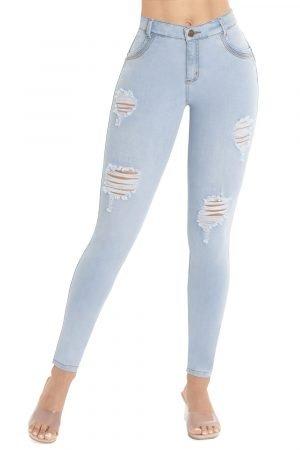 Jeans ajustado con efecto push up pretina un botón