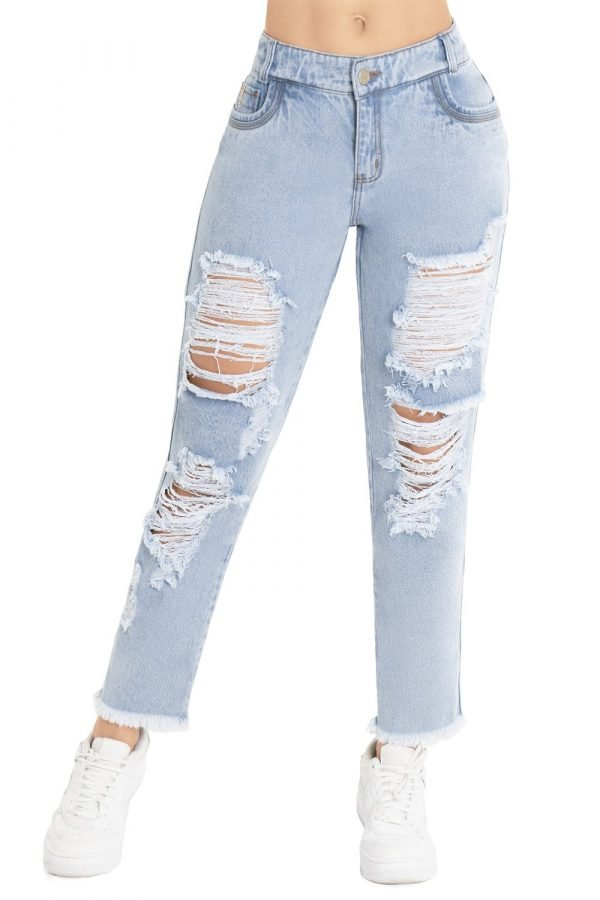 Jeans destroyed levanta cola con flecos B 1122