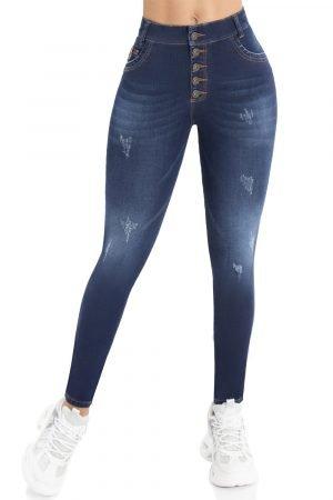 Jeans levanta cola pretina alta bota skinny B 1134