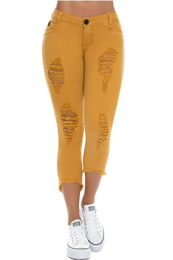 JEANS MOSTAZA CON DESTROYED BE 126