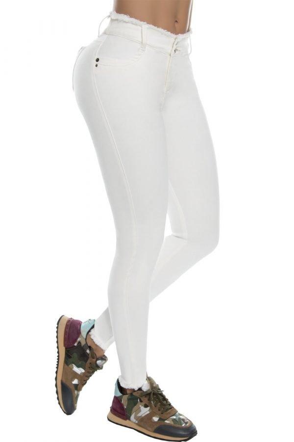Jeans blanco pretina desflecada B 244