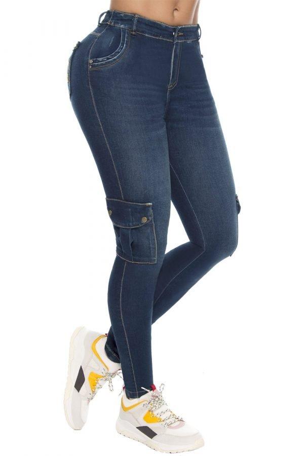 Jeans tipo cargo azul oscuro B 387