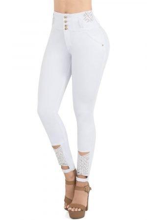 Jeans blanco cuatro botones con tejido en bota Duchess S2013