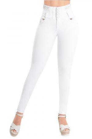 Jeans tiro super alto con detalles en pretina S 2014