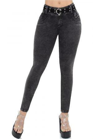 Jeans negro con correa bolsillos traseros levanta cola S-2066