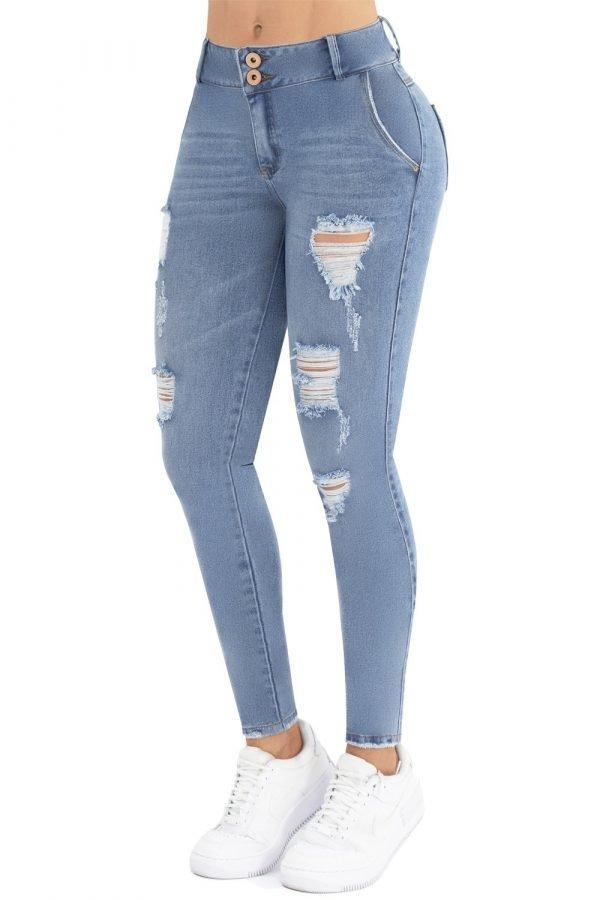 Jeans tiro medio levanta cola sky blue up 780