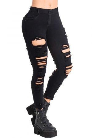 Jeans con destroyed negro levanta cola B-1159-1