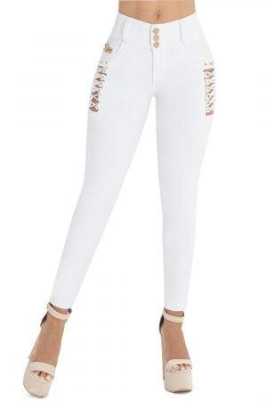 Jeans blanco pretina alta abertura lateral S-2044