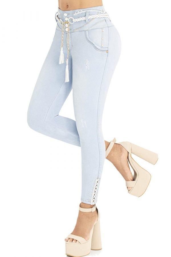 Jeans levanta cola azul claro pretina super alta bota skinny S-2105