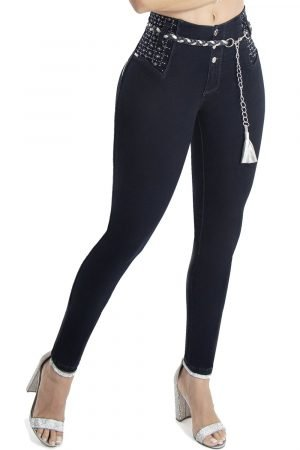 Jeans levanta cola azul oscuro S-2106