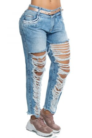 Jeans estilo boyfriend con destroyed delantero UP 202