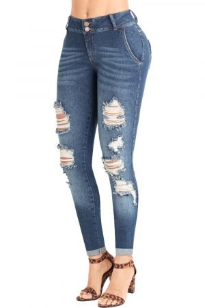 Jeans con destroyed levanta cola bota con dobles UP-780-2