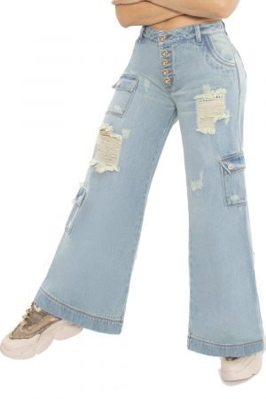 Jeans pretina alta bota ancha UP-842