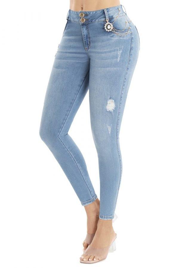 Jeans denim tiro medio levanta cola bota skinny UP 858-1
