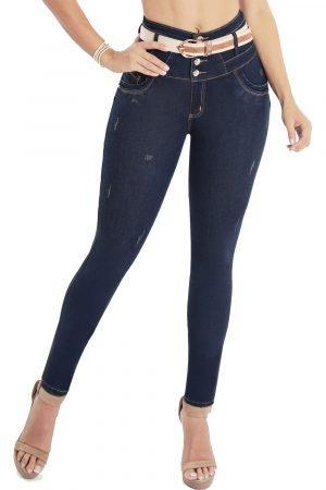 Jeans levanta cola azul oscuro con faja interna latex colombiana JMC-103-1