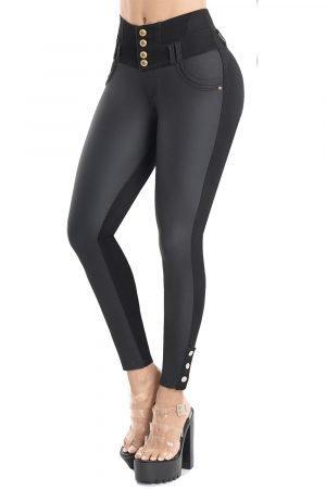 Jeans efecto cuero levanta cola bota tubo con apliques JMC-108