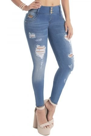 Jeans levanta cola con destroyed y bolsillos decorados S-2064