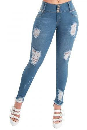 Jeans levanta cola claro con destroyed S-2109
