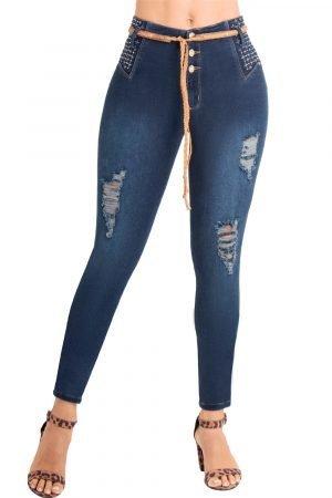 Jeans pretina alta levanta cola con correa S-2119