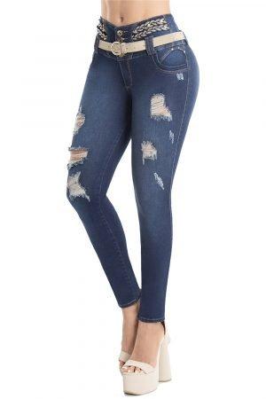 Jeans con decoración levanta cola S-2123
