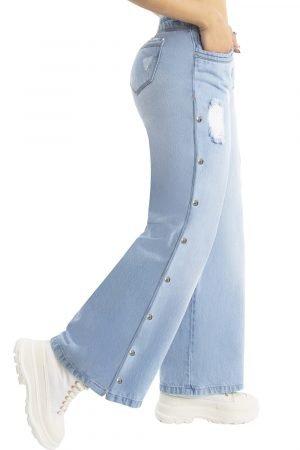 Jeans bota ancha con decoración lateral UP-798