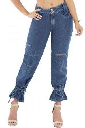 Jeans con destroyed y cinturón en bota UP-874