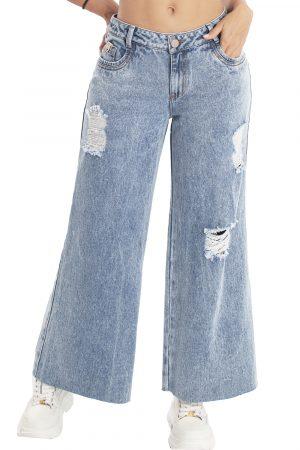 Jeans levanta cola bota ancha con destroyed UP-894