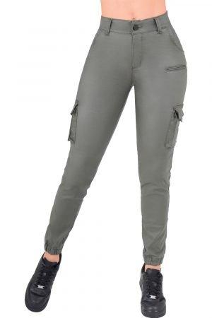 Jogger efecto cuero levanta cola con bolsillos laterales UP-941