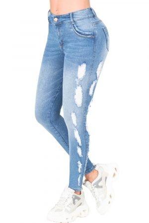 Jeans de moda colombiana levanta cola con destroyed a los lados B-1180