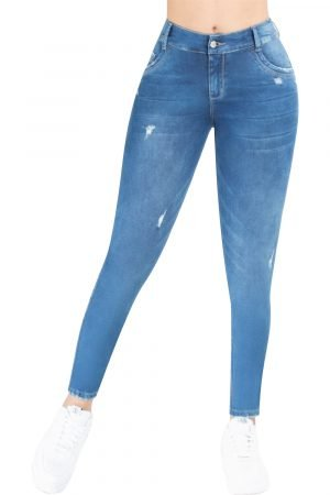 Jeans de moda colombiana levanta cola tiro medio sin rotos B-1197