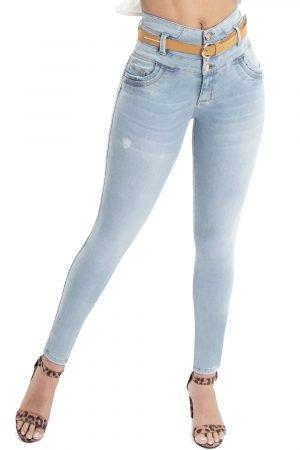 Jeans con faja interna azul claro push up JMC-107
