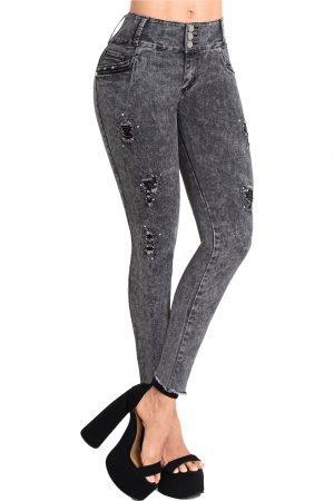Jeans jaspeado gris levanta cola S-2125-1