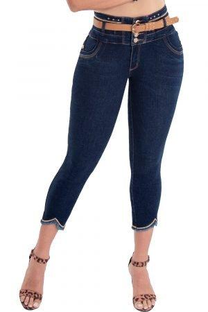 Jeans estilo capri pretina alta levanta cola S-2131