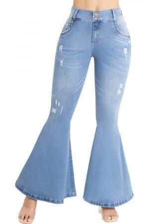 Jeans de moda colombiana bota ancha tiro medio UP-813