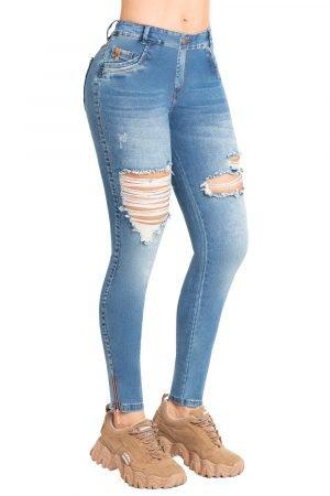 Jeans bota tubo con destroyed azul claro B-1028
