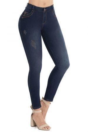 Jeans de moda colombia tiro alto sin bolsillos B-1112