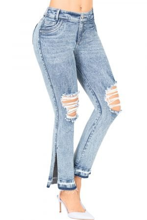 Jeans levanta cola con abertura lateral destroyed B-1189