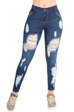 Jeans de moda colombia con destroyed adelante y atrás B-1251