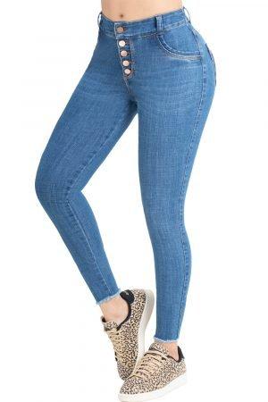 Jeans de moda colombia levanta cola cinco botones B-1267